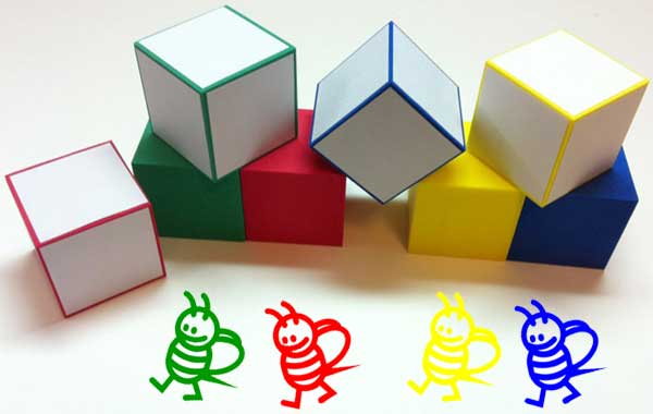 cubes dice blocks colors colours yellow green blue red