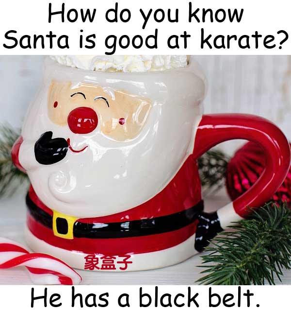 Santa 聖誕老人 karate 空手道 black belt 黑帶
