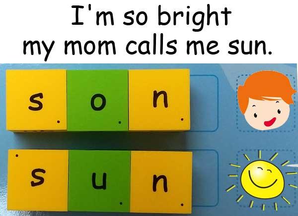 son sun homophones 同音異義