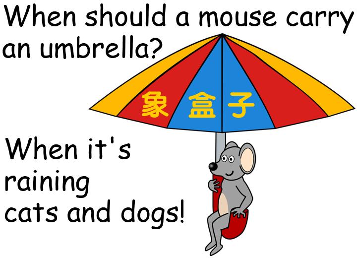 raining cats and dogs 傾盆大雨  貓狗大雨